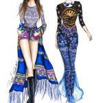 Anna Sui Bella Hadid Taylor Hill Berit Schulze BS illustration drawing Zeichnung Modezeichnung Copic Marker Fashion Illustration Illustrator