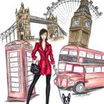 London Big Ben London Eye Tower Bridge Harry Potter Berit Schulze BS Illustration postcard Postkarte