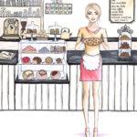 BS Illustration the bakery die Bäckerei Kuchen und Torten