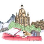 Dresden visit Dresden travel destination copicmarker BS Illustration Berit Schulze Frauenkirche Semperoper