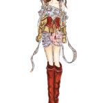 Zimmermann Fashionshow Berit Schulze BS Illustration Copicmarker Copic Kleid rote Stiefel Zeichnung red boots
